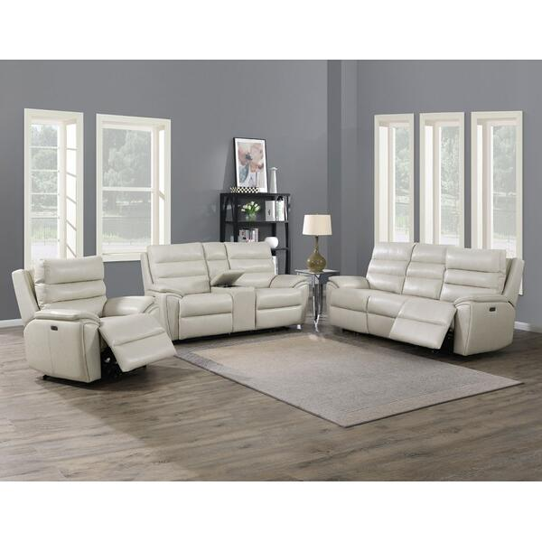 Duval Ivory 3-Piece Dual-Power Leather Motion Set(Sofa, Loveseat & Chair)