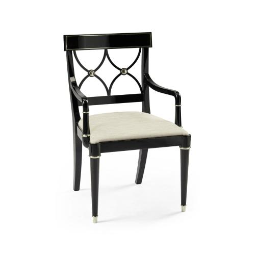 Madison Piano Black & White Brass Dining Armchair, Upholstered in Castaway