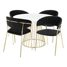 Canary-tania Dining Set - Gold Metal, White Wood, Black Velvet