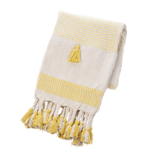 Ochre & Natural Striped Woven Throw with Braided Tassels