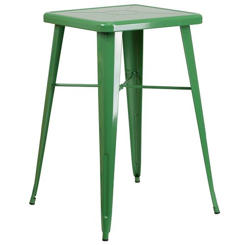 """Commercial Grade 23.75"""" Square Green Metal Indoor-Outdoor Bar Table Set with 2 Stools with Backs"""