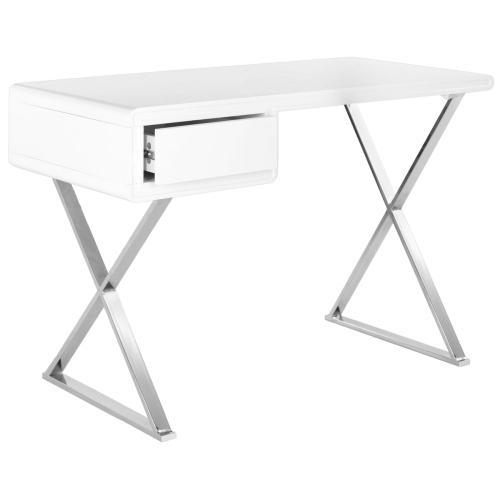 Hanover Desk - White / Chrome