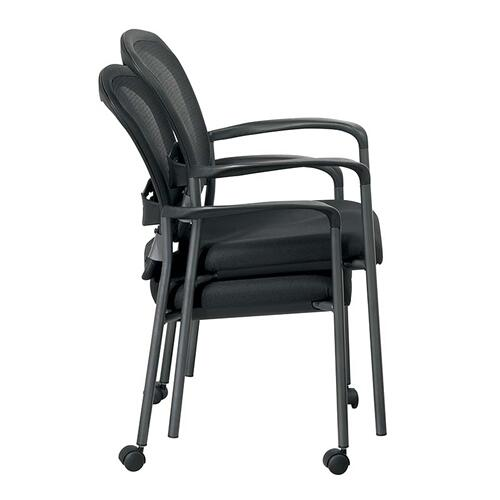 Titanium Finish Visitors Chair With Arms and Progrid® Back