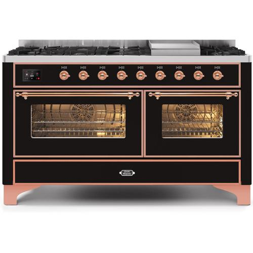 Gallery - Majestic II 60 Inch Dual Fuel Natural Gas Freestanding Range in Glossy Black with Copper Trim