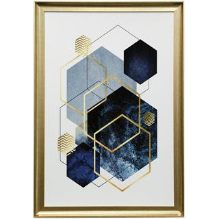 Abstract Geo Blue  39in X 27in  Framed Print Under Glass