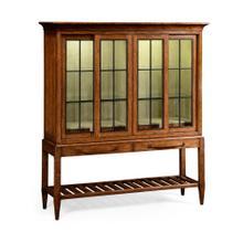 Plank walnut glazed display double cabinet
