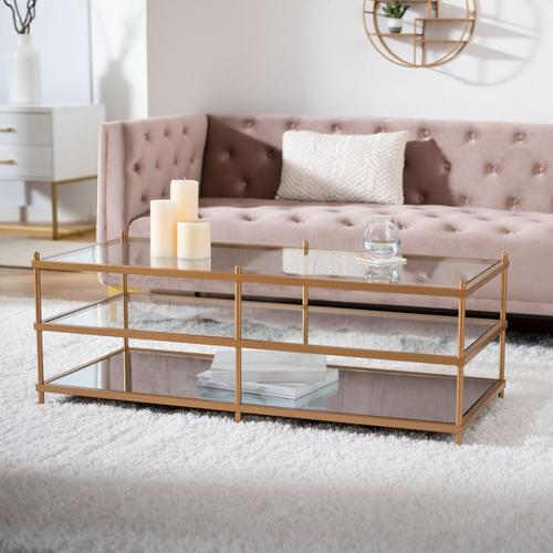 Safavieh - Cathal Glass and Mirror Coffee Table - Gold / Glass