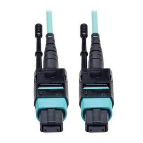 MTP/MPO Patch Cable with Push/Pull Tabs, 12 Fiber, 40GbE, 40GBASE-SR4, OM3 Plenum-Rated - Aqua, 10M (33 ft.)