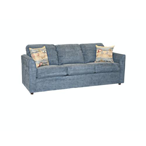 """Capris Furniture - Deluxe seat cushions w/attached fiber filled back pillow Queen Sleeper w/ 2-1/2"""" Walnut legs."""