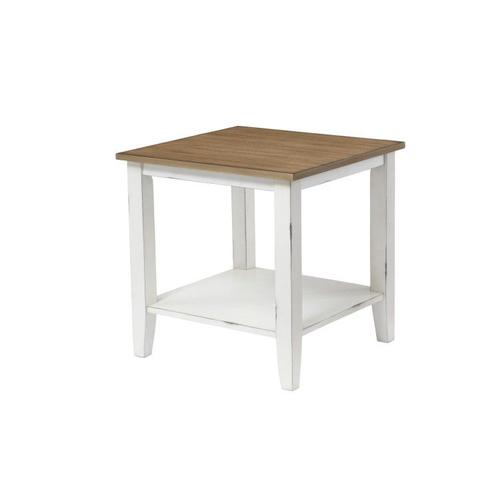Atticus 3-Pack Accent Tables with Casters, Toffee Brown Top with Vintage White Base