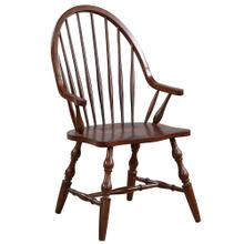 View Product - Windsor Dining Chair w/Arms - Distressed Chestnut Brown Seat