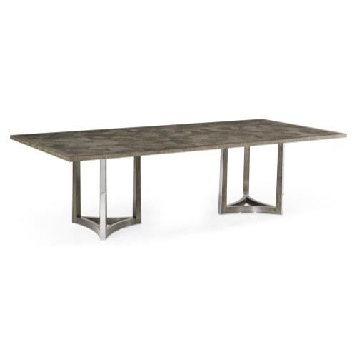 "108"" Gatsby Contemporary Rectangular Grey Natural Eucalyptus & Stainless Steel Dining Table with Random Cut Top"