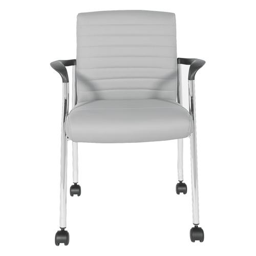 Guest Chair With Casters In Grey Faux Leather With Chrome Frame