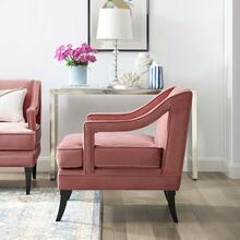 Concur Button Tufted Performance Velvet Armchair in Dusty Rose