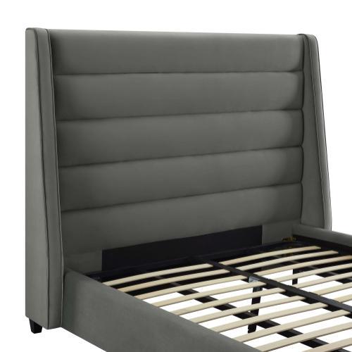 Koah Grey Velvet Bed in King