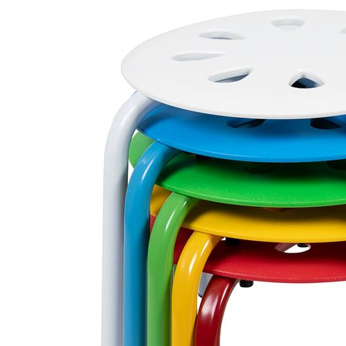 """Flash Furniture - Plastic Nesting Stack Stools, 11.5""""Height, Assorted Colors (5 Pack)"""