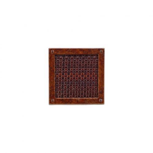 Square Designer Escutcheon - E155 White Bronze Medium with Spice Leather