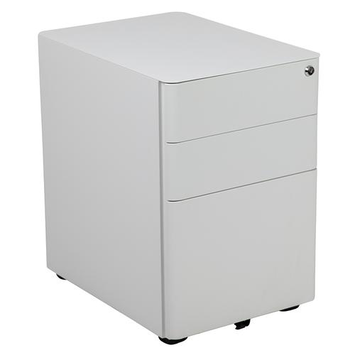 Gallery - Work From Home Kit - White Adjustable Computer Desk, LeatherSoft Office Chair and Side Handle Locking Mobile Filing Cabinet