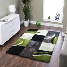 Vibrant Hand Tufted Modern Shag Lola 004 Area Rug by Rug Factory Plus - 5' x 7' / Black Gray Green