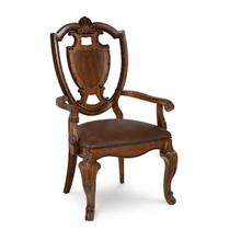 View Product - Old World- Shield Back Arm Chair- Leather Seat
