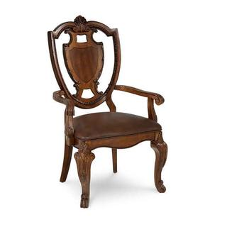 See Details - Old World- Shield Back Arm Chair- Leather Seat