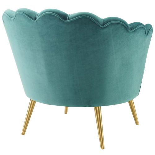 Admire Scalloped Edge Performance Velvet Accent Armchair in Teal