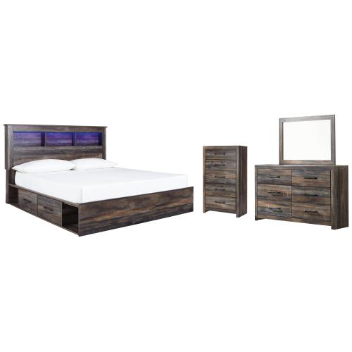 King Bookcase Bed With 2 Storage Drawers With Mirrored Dresser and Chest
