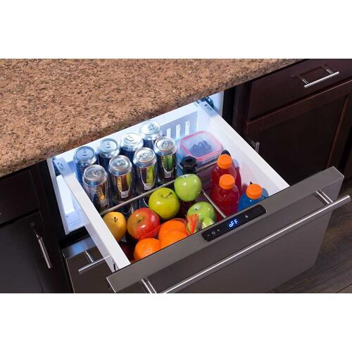 24-In Built-In Refrigerated Drawers with Door Style - Stainless Steel, Door Swing - Field Reversible