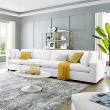Commix Down Filled Overstuffed Performance Velvet 4-Seater Sofa in White