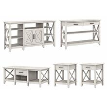 Key West Tall TV Stand with Coffee Table, Console Table and Set of 2 End Tables - Linen White Oak