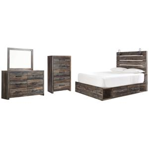 Ashley - Queen Panel Bed With 2 Storage Drawers With Mirrored Dresser and Chest