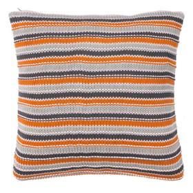 Candy Stripe Knit Pillow - Orange Combo
