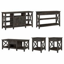 See Details - Tall TV Stand with Coffee Table, Console Table and Set of 2 End Tables, Dark Gray Hickory
