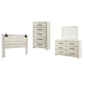 King Panel Headboard With Mirrored Dresser, Chest and Nightstand