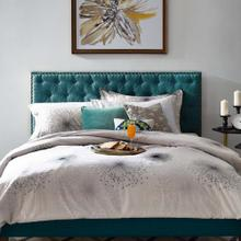 Helena Tufted Full / Queen Upholstered Linen Fabric Headboard in Teal