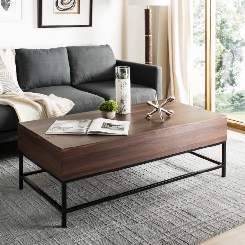Gina Contemporary Lift- Top Coffee Table - Dark Oak / Black