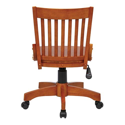 Office Star - Deluxe Armless Wood Bankers Chair With Wood Seat (fruit Wood Finish)