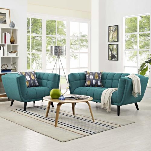 Modway - Bestow 2 Piece Upholstered Fabric Loveseat and Armchair Set in Teal