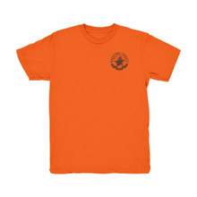 Orange T-Shirt with Brown Anvil and Subwoofer Design (M)