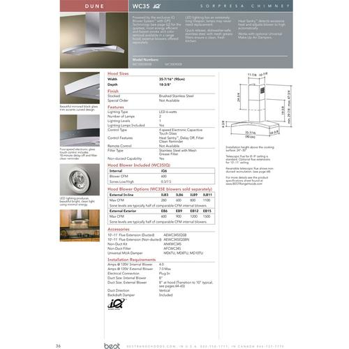 "Dune - 35-7/16"" Stainless Steel Chimney Range Hood for use with a choice of Exterior or In-line blowers"