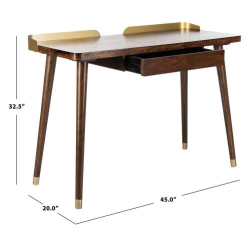 Parker 1 Drawer Desk - Dark Walnut