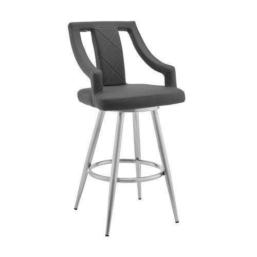 """Maxen 26"""" Gray Faux Leather and Brushed Stainless Steel Swivel Bar Stool"""