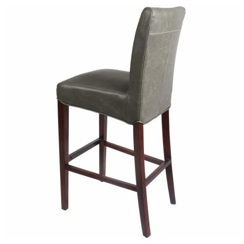 Milton Bonded Leather Bar Stool Wenge Legs, Vintage Gray