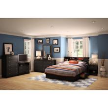 Vito - Mates Bed and Bookcase Headboard Set, Pure Black, Queen