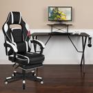 Black Gaming Desk with Cup Holder\/Headphone Hook\/Monitor Stand & White Reclining Back\/Arms Gaming Chair with Footrest Product Image