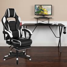 Black Gaming Desk with Cup Holder\/Headphone Hook\/Monitor Stand & White Reclining Back\/Arms Gaming Chair with Footrest