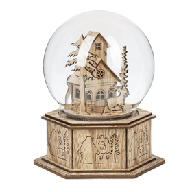 Light Up Musical Globe Figurine - Two Story House with Reindeer