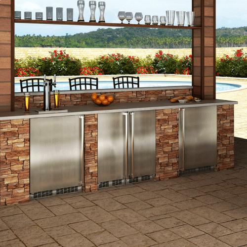 Marvel - 24-In Outdoor Built-In All Freezer with Door Style - Stainless Steel