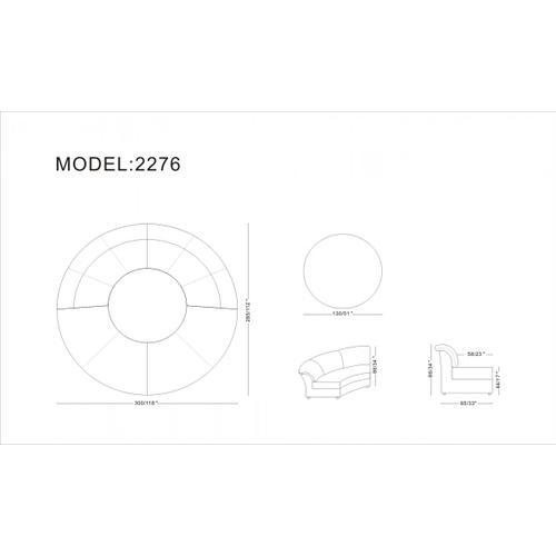 Divani Casa Circle - Modern Bonded Leather Circular Sectional 5-Piece Sofa Set