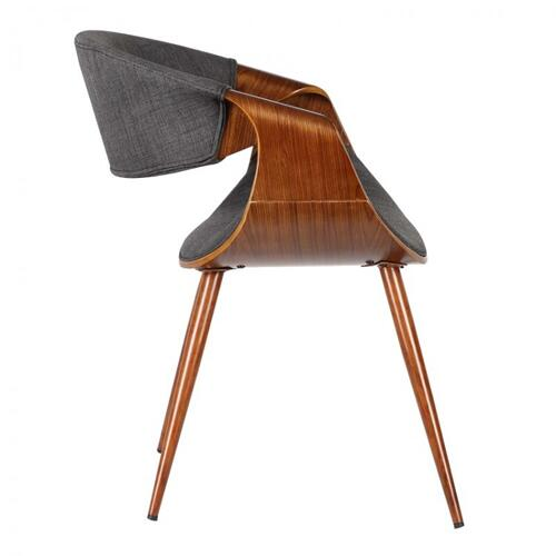 Armen Living - Armen Living Butterfly Mid-Century Dining Chair in Walnut Finish and Charcoal Fabric